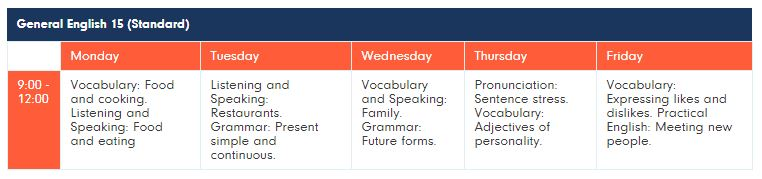 timetable 15 lessons LSE