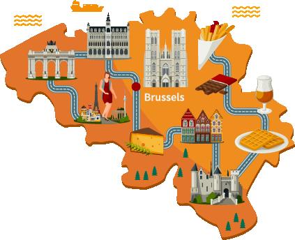 Belgium map, carte belgique, destinations en belgique, séjours linguistiques en Belgique